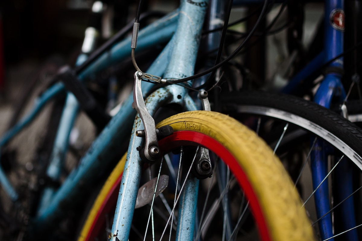 close up of bicyle wheels and frames