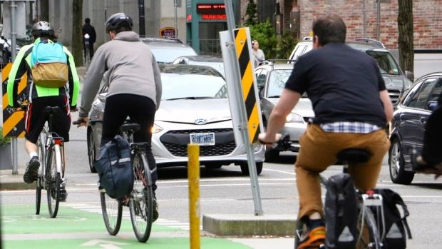 Separated bike lanes are plentiful in Vancouver, a city with one of the highest number of cyclists in North America. (Tina Lovgreen/CBC)