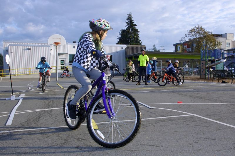 ERG program in action - participant riding their bike.